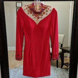 Rachel Allan size 2 red long sleeve dress